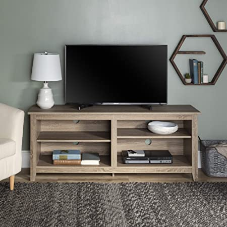 Walker Edison Wren Classic 4 Cubby Tv Stand For Tvs Up To 65 Inches 58 Inch Driftwood Furniture Decor