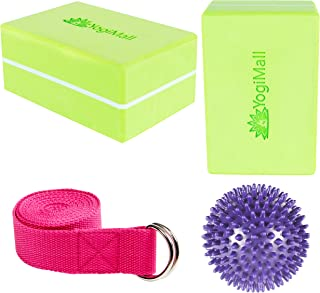 YogiMall Yoga Blocks Set of 2 and D-Ring Yoga Strap OR Yoga Knee Pad, Block and Carry Bag 3-in-1 Set. Eco-Friendly Yoga Kits to Deepen Your Poses & Improve Balance. Ideal for Yoga, Pilates & Exercise