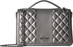 Quilted Metallic Shoulder Bag Chain Strap