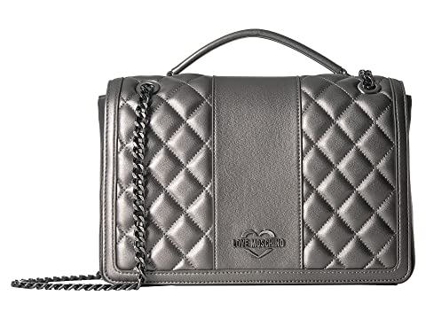 Shop Love Moschino Quilted Metallic Shoulder Bag Chain Strap