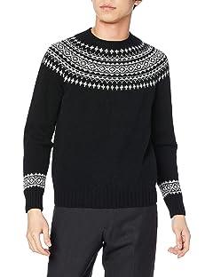 Yoke Pattern Crewneck Sweater M3170: Black / Silver