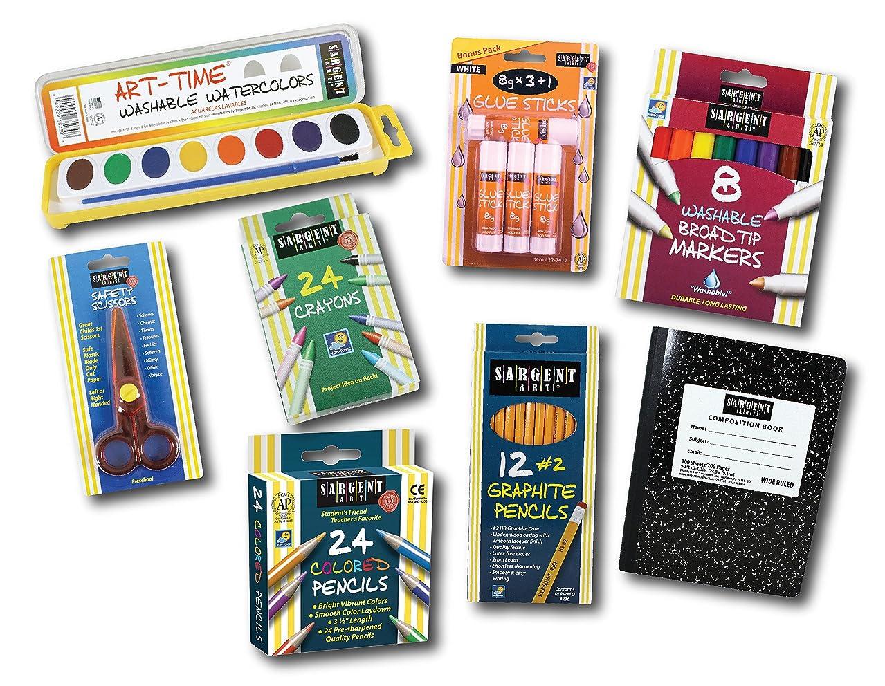 Sargent Art 22-0050 Back to School Essentials Kit 8pc Art Activity Set, Colored, Watercolor Paints, Crayons, Markers, Glue Sticks, Graphite Pencils, Composition Book, Safety Scissors