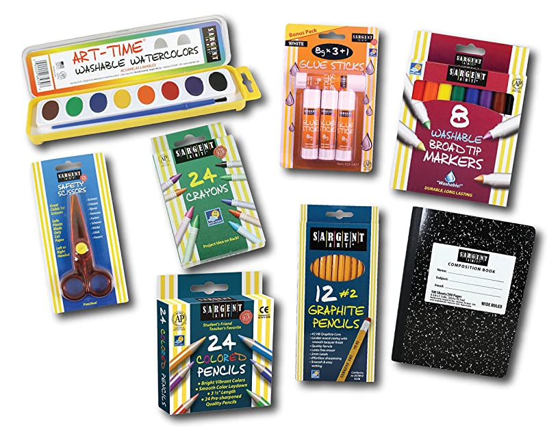 Sargent Art 22-0050 Back to School Essentials Kit 8pc Art Activity Set, Colored, Watercolor Paints, Crayons, Markers, Glue Sticks, Graphite Pencils, Composition Book, Safety Scissors
