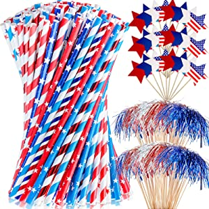 150 Pieces American Flag Red White Blue Paper Straw Patriotic Drinking Straws and 150 Pieces Flag Star Toppers Toothpicks for Independence Day, Memorial Day, July 4th, Patriotic Party, Celebration