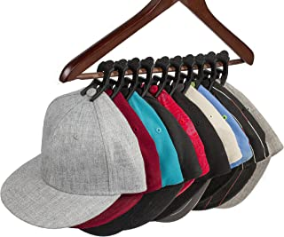 Caiman Hat Clips: The Hat Organizer That Fits in Your Closet and Protects Your Hats Better Than a Hat Rack Using Clips with a Safe, Unique Grip (10 Pack) (Black)