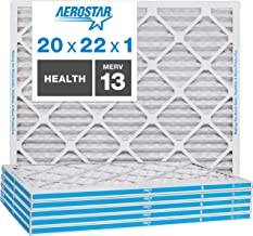 Aerostar Home Max 20x22x1 MERV 13 Pleated Air Filter, Made in the USA, (Actual Size: 19..