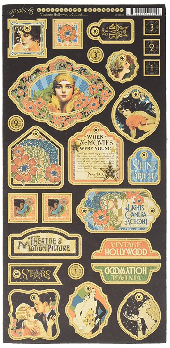 Graphic 45 Vintage Hollywood Decorative Chipboard,
