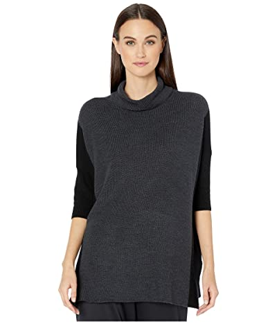 Eileen Fisher Fine Merino Rib Funnel Neck Top (Charcoal/Black) Women