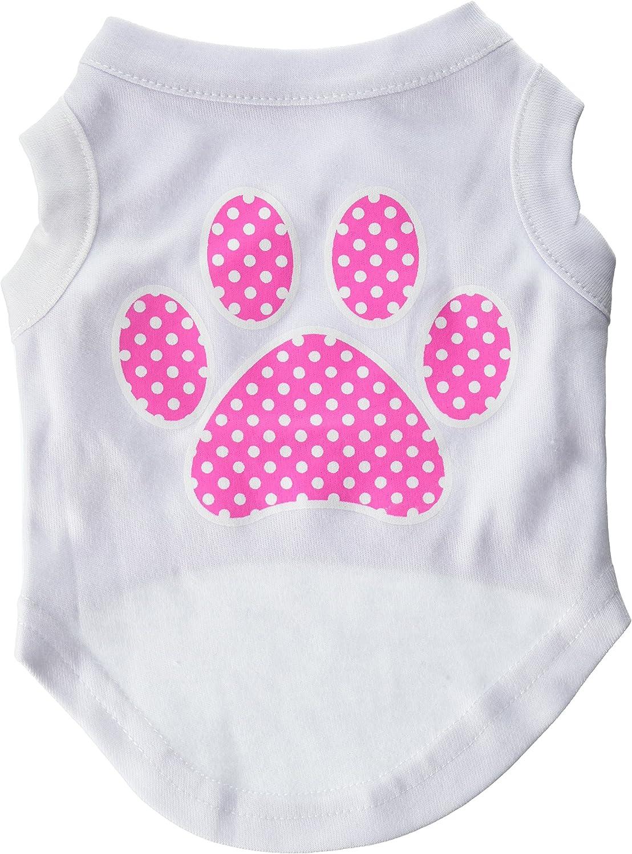 Dog   Cat   Pet Charms Pink Swiss Dot Paw Screen Print Shirt White S (10)