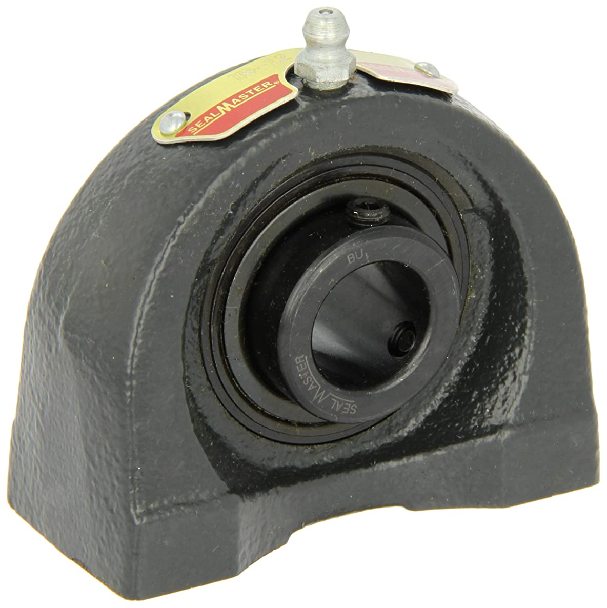 Sealmaster TB-29 Tapped Base Pillow Block Ball Bearing, Non-Expansion Type, Normal-Duty, Regreasable, Setscrew Locking Collar, Felt Seals, Cast Iron Housing, 1-13/16
