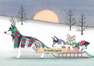 12 Christmas Cards: Siberian husky family takes holiday sled ride/Lynch folk art
