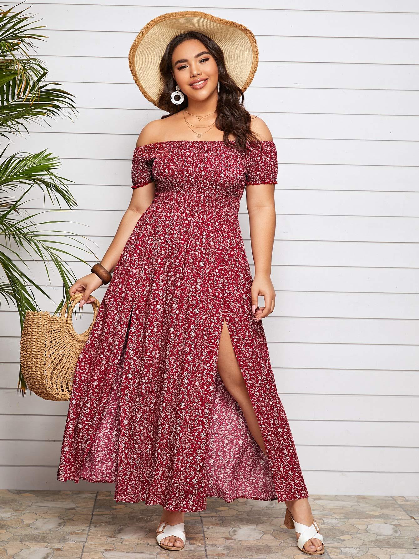 Women's Boho Floral Print Off Shoulder Split Long A Line Dress