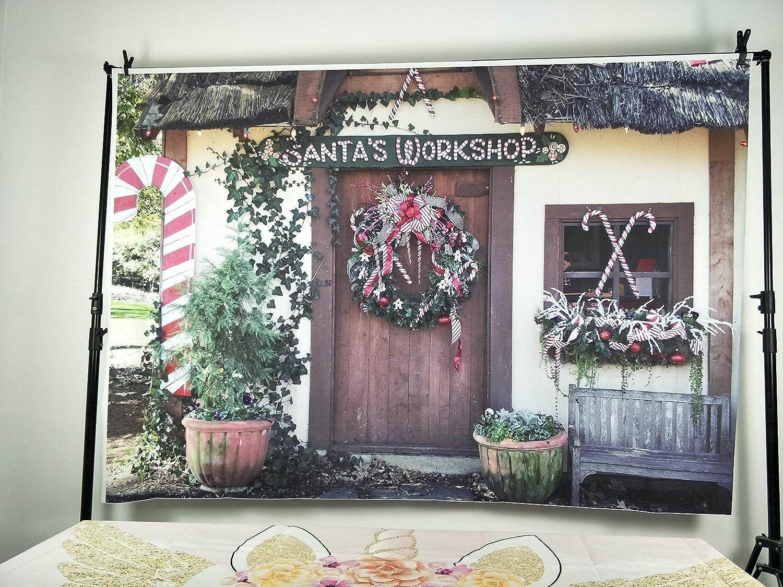 10x6.5FT Photography Background Santa Clauss Workshop Grunge Graffiti Wood Cabin Wreath Merry Christmas Tree Hockey Candy Plants Vintage Window Photo Portrait Vinyl Studio Video Prop