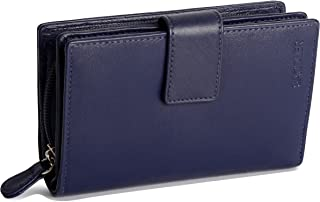 SADDLER Womens Real Leather Large Bifold Purse Wallet with Centre Zipper Coin Purse | Designer Ladies Clutch Perfect for ID Coins Notes Debit Travel Cards | Gift Boxed - Navy