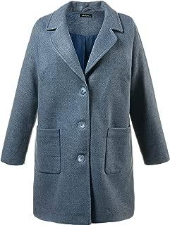 Ulla Popken Women's Plus Size Oversized Straight Wool Blend Coat 713496