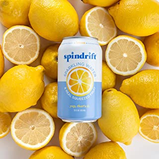 Spindrift Sparkling Water, Lemon Flavored, Made with Real Squeezed Fruit, 12 Fl Oz Cans, Pack of 24 (Only 3 Calories per S...