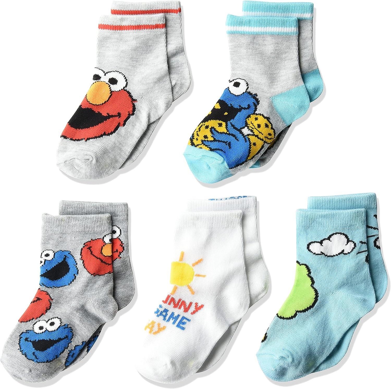 Sesame Street unisex-baby Sesame Street 5 Pack Crew Socks