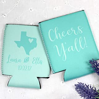 Personalized Wedding Can Coolers Cheers Y'all State Multiple Colors/Quantities Available Personalized Wedding Favors Neoprene Can Coolers