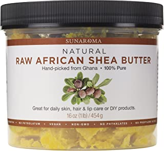 Sunaroma 100% Raw Shea Butter (16 oz) - Premium GHANA Yellow Shea Butter for Skin Improves Elasticity, Stretch Marks, Eczema and Psoriasis - Helps Soften and Moisturize Hair - Great for DIY