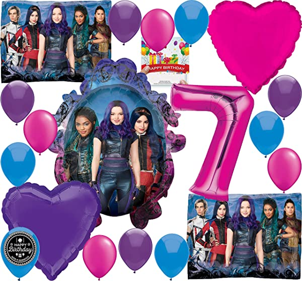 Descendants 3 Party Supplies Birthday Balloon Decoration Bundle For 7th Birthday