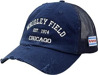 Wrigley Field Chicago Snapback Trucker Mesh Vintage W/Chicago Flag Navy