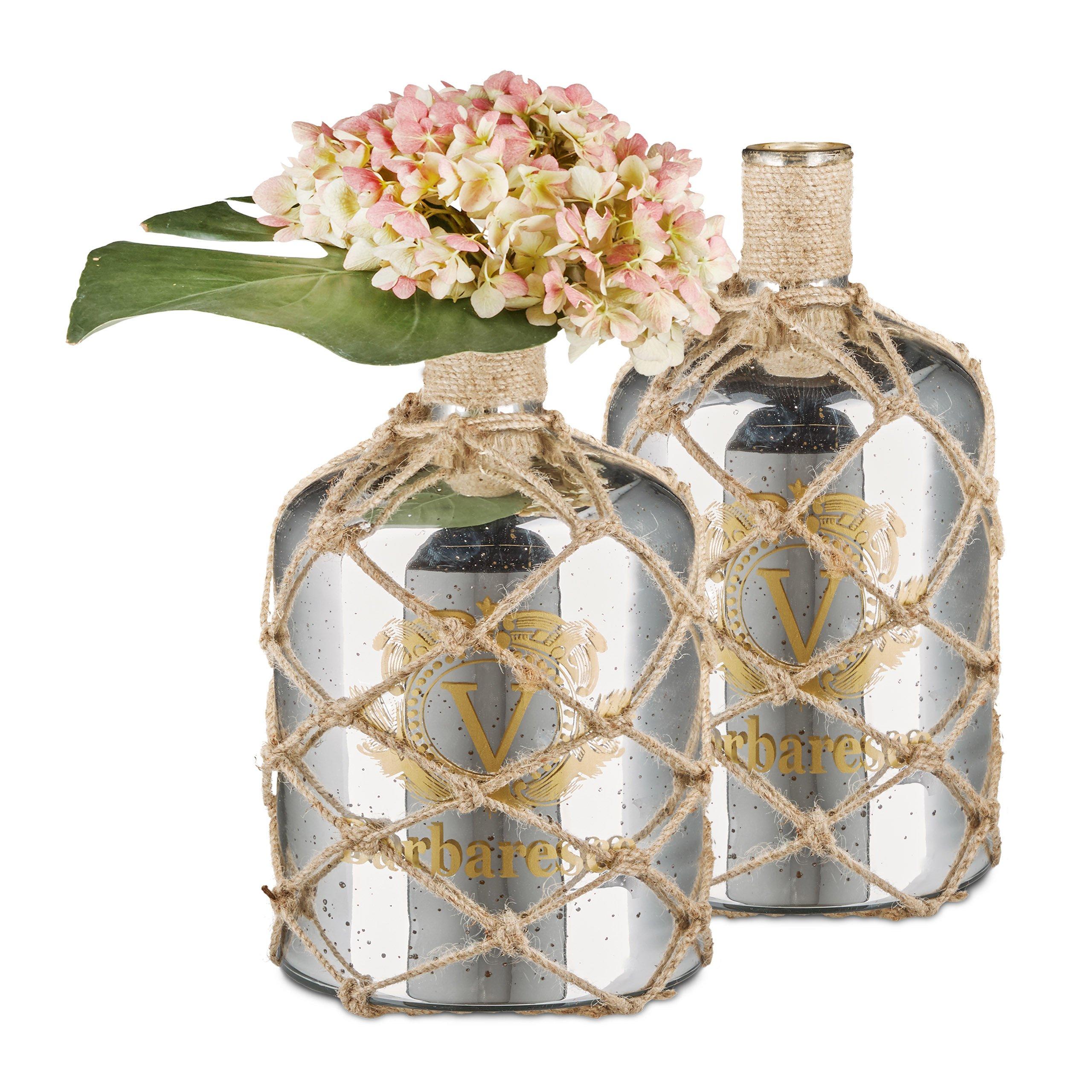 2 x Shabby Deco plata botella, jarrón de suelo en diseño marítimo ...