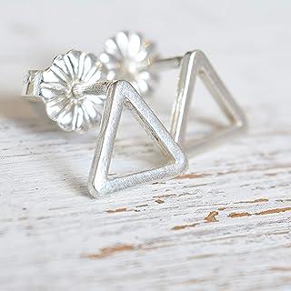 Orecchini a forma di triangolo in argento sterling piccoli gioielli da 8 mm per uomo e donna