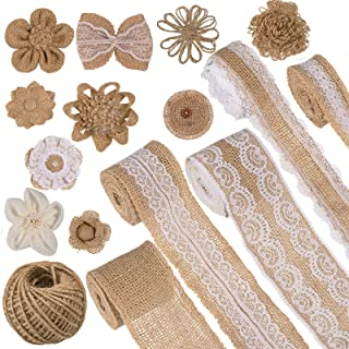 Whaline Burlap Flowers Set Includes 5 Lace Burlap Ribbon Rolls 10 Handmade Burlap Flowers Bowknot 1 Jute Twine and 1 Sheet...