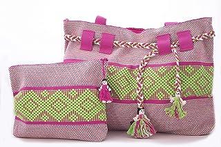 Set Cosmetiquera Mediana y Bolsa Grande Rosa con Verde y Blanco Bordadas en telar de Cintura