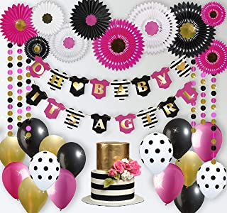 RainMeadow Premium Baby Shower Decorations for Girl Kit   Baby Girl Shower Decorations   Hot Pink Black Gold Balloons   It's A Girl Banner   Tissue Paper Fans   Kate Spade Inspired   Minnie Mouse