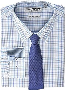 Multicolor Plaid Contrast CVC Stretch Dress Shirt & Tie Set
