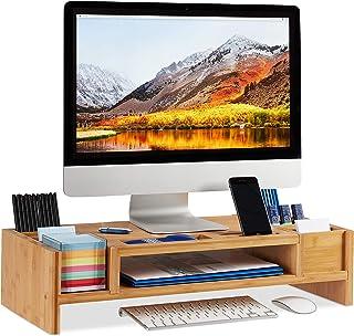 relaxdays moniteur, Support d'écran bambou, 14 compartiments, Rehausseur ergonomique, HLP 15x65x28cm, naturel, 15 x 65 x 2...