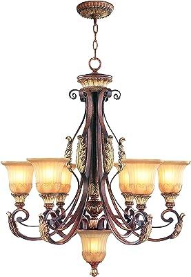 Amazon.com: Palacial bronce Sevilla 5 1 nivel de luz lámpara ...