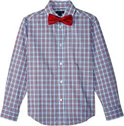 Tommy Hilfiger Kids Long Sleeve Stretch Sunny Plaid Shirt w/ Bow Tie (Big Kids)