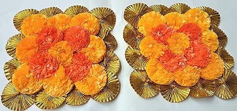 Designer Artificial Marigold Flower Mat Rangoli with Traditional Golden Gota Border Floor Decor/Wall Decor,Table Decor (Set of 2-6 inch Marigold Flower mat)