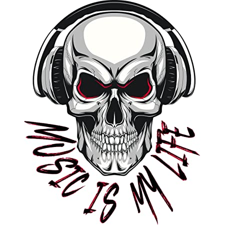 Music Is My Life Skull Aufkleber Sticker Bands Musik Autoaufkleber Totenkopf Auto