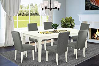 East West Furniture 7Pc Dinette Set Includes a Rectangle 66/84 Inch Kitchen Table with Butterfly Leaf and 6 Parson Chair White Finish Leg and Linen Fabric-Gray Color