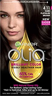 Garnier Olia Ammonia-Free Brilliant Color Oil-Rich Permanent Hair Color, 4.11 Dark Platinum Brown (Pack of 1) Brown Hair Dye (Packaging May Vary)