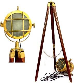 Vintage Antique Brass Spot Searchlight Focus Lamp Wooden Tripod