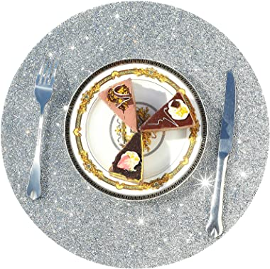 Round Rhinestone Placemat 15 Inch Glam Place Mats Bling Placemat Decorative Table Mats for Kitchen Wedding Banquets (Silver,