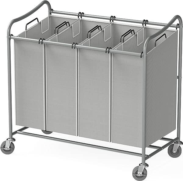 简易家庭用品 4 袋重型洗衣分拣器滚动推车银色