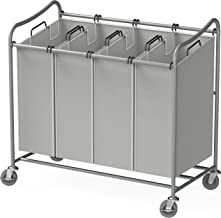 Simple Houseware 4-Bag Heavy Duty Laundry Sorter Rolling Cart, Silver