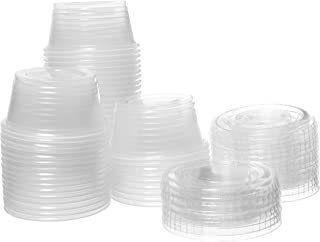 Crystalware, Disposable 2 oz. Plastic Portion Cups with Lids, Condiment Cup, Jello Shot, Soufflé Portion, Sampling Cup, 100 Sets – Clear