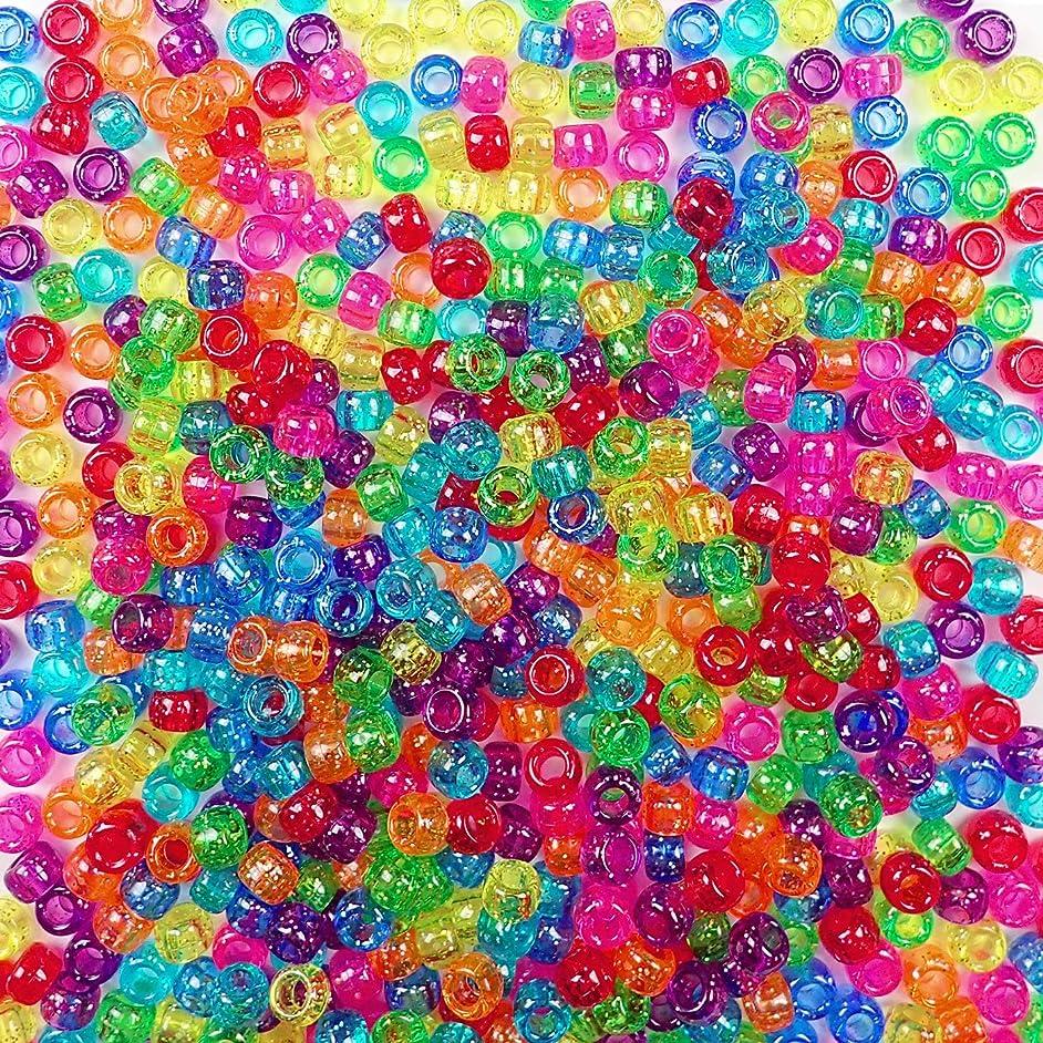Sparkling Glitter Rainbow Multicolor Mix Plastic Craft Pony Beads, 6x9mm, 1000 Beads