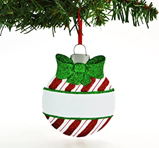 Grantwood Technology Personalized Christmas Ornament Circle Bulb Candycane Design/Personalized by Santa/Candy Cane Ornaments/Candy Cane Christmas Ornaments