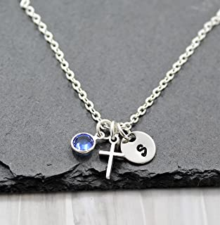 0cffbf063484 Tiny Cross Necklace for Women - Personalized Birthstone   Initial - Baptism  Gifts for Girls -