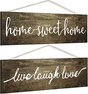 Country HOME SWEET HOME Canvas Framed Sign Connecting Hearts White Wash Family Name Sign Farmhouse Established Date Weathered