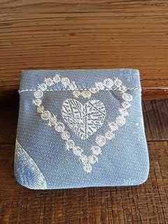 Portamonete con cuore fatto a mano, AZZURRO pastello - beige, idea regalo, San Valentino, Anniversario, Matrimonio, Bombon...
