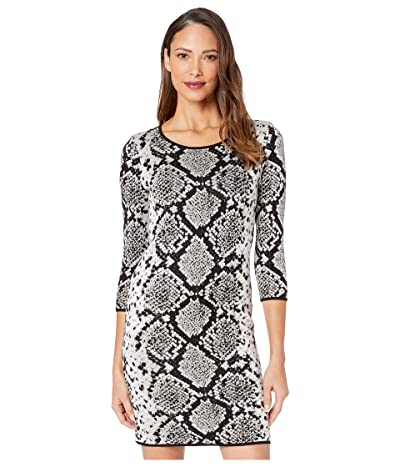 Vince Camuto 3/4 Sleeve Snakeskin Jacquard Mock Neck Sweater Dress (Rich Black) Women