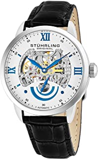 Stuhrling Original Men's 574.01 Executive II Automatic Skeleton Watch With Black Leather Band